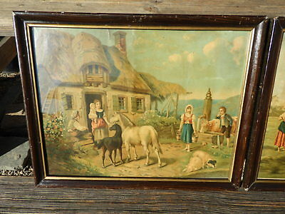 1920 BAUER 2 bäuerliche BILDER Bauernidyll BAUERNHOF HEUERNTE Pferde Schwein Kuh