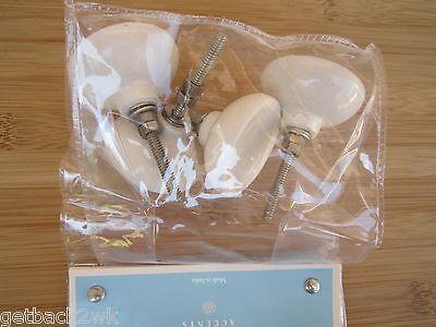 NEW Drawer Pulls Set of 4 Ceramic Glazed White/Clear Knobs Knob 2