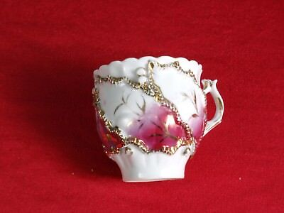 Victorian Mustache Style Cup Gold Raised Flowers Lace ANTIQUE 6