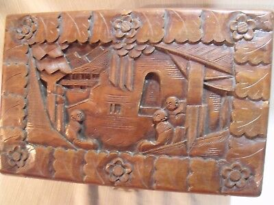 "Ornate Antique Chinese Hand Carved Camphorwood 12"" Dresser Box 7"