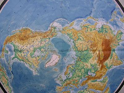 Schulwandkarte schöne alte Nördliche Erdhälfte Arktis 170x177c vintage map ~1957 8