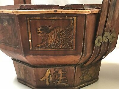 Antique Chinese Wooden Wedding Basket hand painted with Authentic SEALl (No Lid) 5