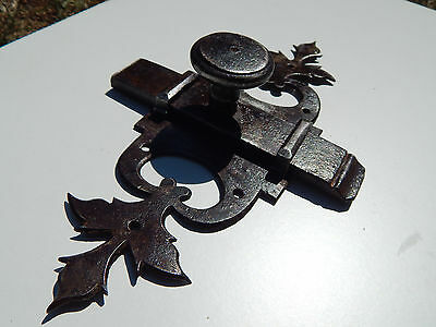 antique French large bolt, slide latch, lock ,hanle forged ,castle 18th Century