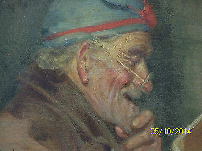 """Rare"" Alpenore Gobbi Antique Original Oil On Panel Side Portrait Painting 8"