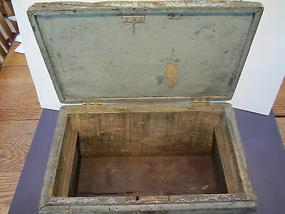 "Viintage wood 15 1/2""L X10""D X 8 1/2""H carpenters tool or document box-orig lock 4"