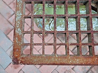 """Antique VICTORIAN 34 1/8"""" SQUARE CAST IRON FLOOR GRATE COCKTAIL TABLE TOP HEAVY 2"""