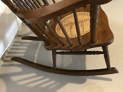ANTIQUE VICTORIAN oak pressed back rocking chair with cane seat!  BEAUTIFUL!! 10