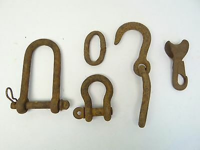 Mixed Antique Lot Old Metal Iron Hoops Eyehooks Chain Yankee Covert Parts