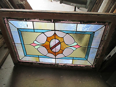 ANTIQUE AMERICAN STAINED GLASS WINDOW 36 x 24 ~ ARCHITECTURAL SALVAGE~ 8