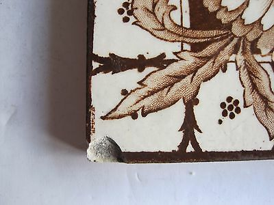 Antique Victorian J.h. Barratt Floral Transfer Print Wall Tile Brown On Cream 2