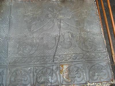 "GORGEOUS antique VICTORIAN tin ceiling pressed FLORAL fleur pattern 24.75"" x 48"" 9"