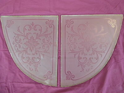 Antique Heavy Victorian Etched Glass Windows  - Matched Pair - Late 1800's 4