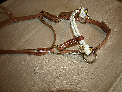 Western harness leather double rope side pull USA natural custom cowboy  H4005 7