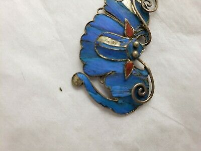 Antique Chinese blue Kingfisher feather hair stick pin ornament 5