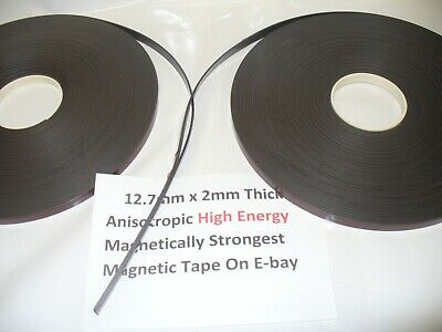 Magnetic Tape,Strip Self Adhesive 12.7mm x 2mm  Anisotropoic Strong High Energy 6