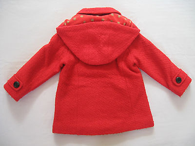 BNWT NEXT Girls Winter  Red Double Breasted Coat Jacket With Hood 3-4-5 Years 2