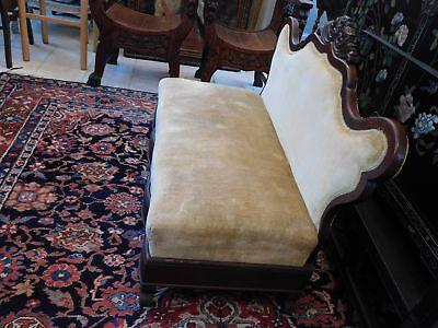 """Victorian Mahogany Carved Slipper Sofa Gold Velvet Upholstery 35 1/2"""" H x 46"""" W 3"""