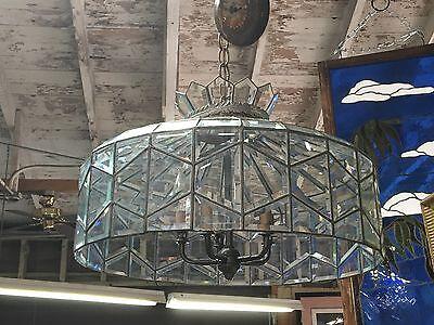 Beautiful Vintage Beveled Glass Chandelier 10