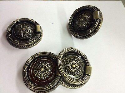 4 LRG Vintage Style Victorian Georgian Antiqued Bronze Drawer Handles Ring Pulls