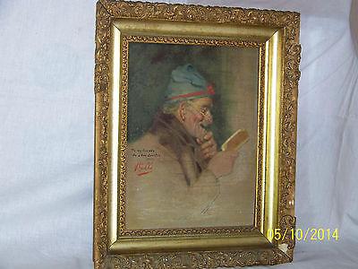 """Rare"" Alpenore Gobbi Antique Original Oil On Panel Side Portrait Painting 12"