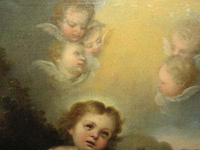Murillo, Bartolome, Studio Of.antique Oil Christ, Lamb, Angels 2