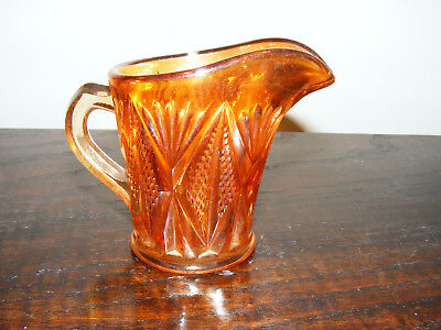 """Carnival   Marigold    Glass   Cream  Or   Milk  Jug    Height   3.1/4""""   Inches 3"""