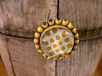 8 YELLOW SUNFLOWER GLASS DRAWER CABINET PULLS KNOBS VINTAGE chic child hardware 7