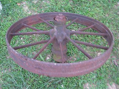 """Vintage Rustic Iron Farm Implement Wheel 32"""" diameter x 4"""" wide Farm decor 5"""