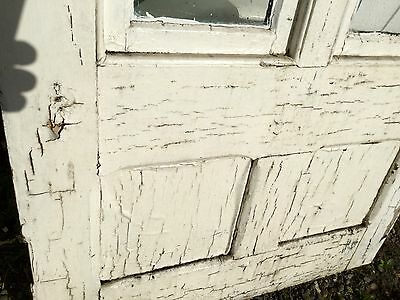 Old Vtg Antique House Entry Chippy Crackle White Paint 2 Glass Pane Door 7