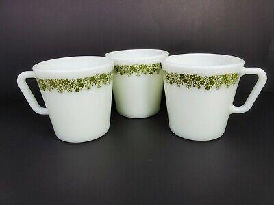 Vintage Retro 3 Pyrex Green Flowers No 1410 Mugs Coffee Cups 300 ml 10.14 oz. 6