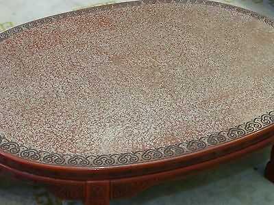 ANTIQUE LATE 19 c. CHINESE LACQUER INTRICATE CARVED CINNABAR COFFEE TABLE 4