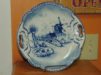 "Hand Painted 10"" Plate w/ Handles Delft? Blue & White Windmill Antique Vintage 2"