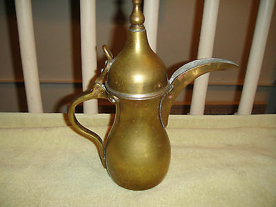 Vintage Turkish Or Arabic Brass Tea Kettle-Engraved Bottom-Long Nose Spout-ODD 3