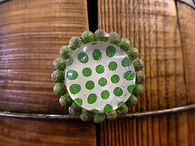 8 GREEN SUN FLOWER GLASS DRAWER CABINET PULLS KNOBS VINTAGE chic garden hardware 6