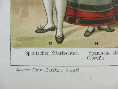 Kunstdruck Chromo Lithografie Volkstrachten Kon.-Lexikon Meyer 1898 Bilder Druck 4
