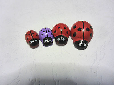 10 Wooden Multi-coloured Rainbow Ladybugs Flat Backs Scrap Booking Art Craft 5