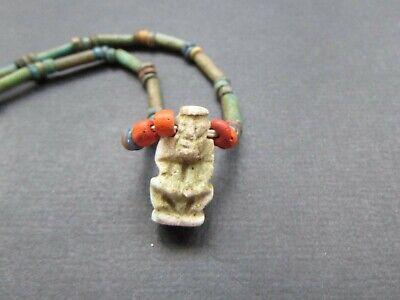 NILE  Ancient Egyptian Harpocrates Amulet Mummy Bead Necklace ca 600 BC 2