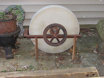 Antique Grinding Stone Wheel Industrial Iron Steampunk Garden Sculpture 10