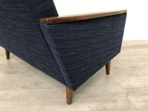Danish Vintage Inspired Mid Century 50S 2 Seater Cocktail Sofa Settee In Navy 10