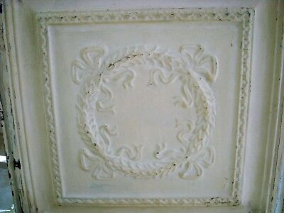 """#1 Fabulous Old Architectural Ceiling Tin French Wreath & Bows 24"""" X 24"""""""