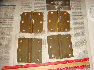 "4 Vintage Brass Plated Button Hinges 3 & 1/2"" , 2 pairs, Very Nice Old Hardware 2"