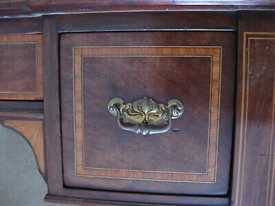 Antique Victorian Mahogany Leather Top Inlaid Desk / Lady's Desk / Writing Table 8