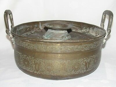 05E38 ANTIQUE BASIN FOR EWER COFFEE COPPER BRASS ART ISLAMIC ORIENTAL xixth 11
