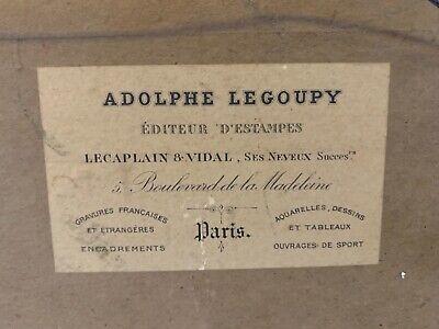 Francés Antiguo Art Nouveau Enmarcado Firmado Hombre Caballo a Caza / Play Polo 10
