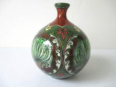 "Antique Royal Bonn Old Dutch Vase Art Nouveau #3464/4098 Brown & Green 4"" 2"