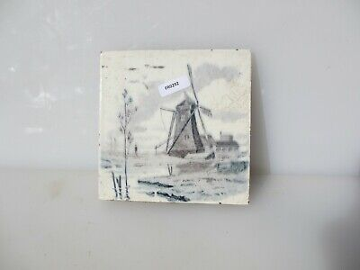 Antique Ceramic Tile Vintage French Village Boats River Cottage Farm Windmill 2