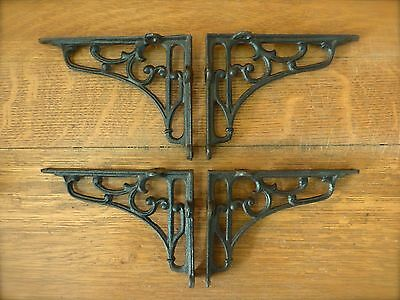 "4 MEDIUM BROWN ANTIQUE STYLE 6.5"" SHELF BRACKETS CAST IRON rustic garden SCROLL"