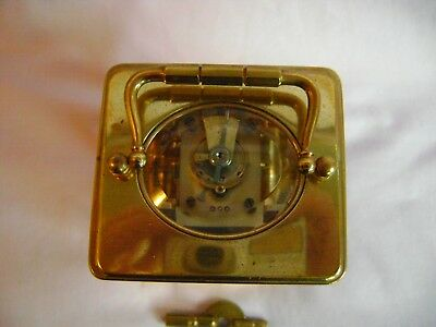 Antique Margaine Timepiece Small Carriage Clock + Key In Good Working Order 3