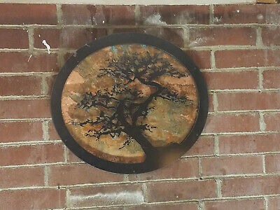 Metal Tree Wall Art Copper Background Custom Wood Frame