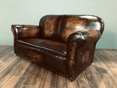 Restored Original 1920's Art Deco Club Sofas In Hand Dyed Leather 2